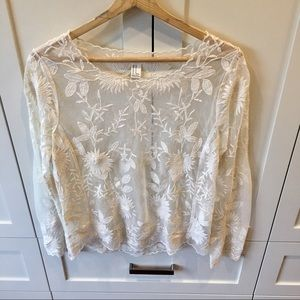 Forever 21 Ivory Lace Top